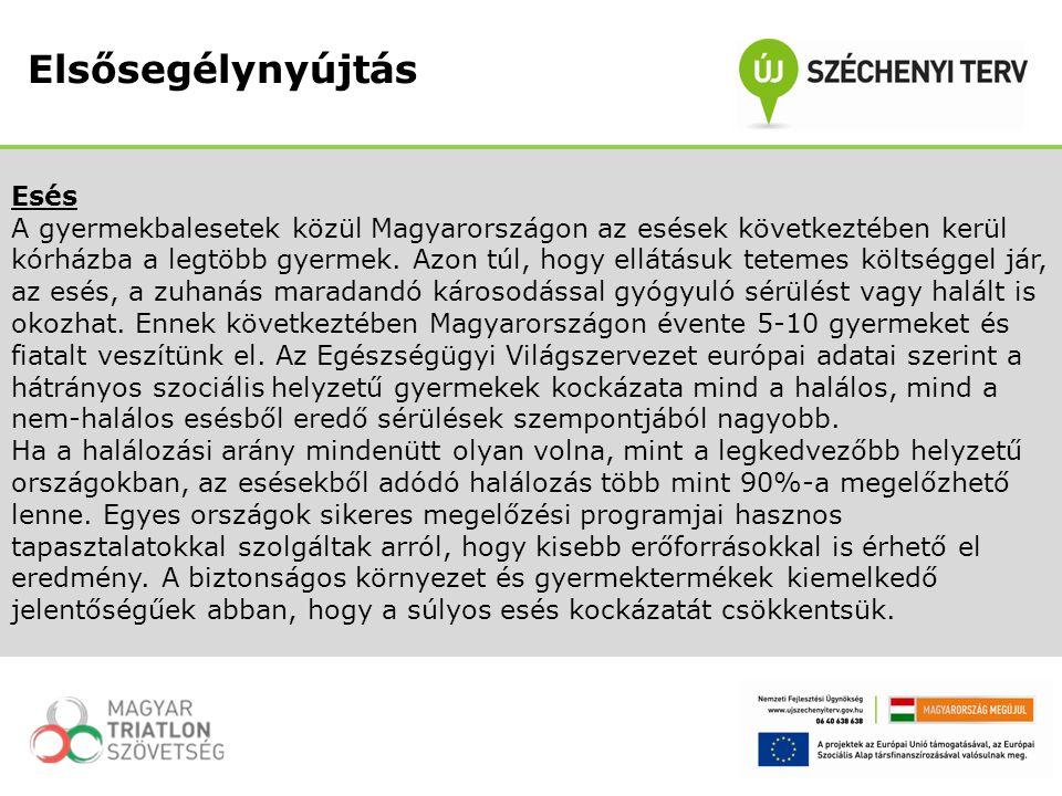 Esés A gyermekbalesetek közül Magyarországon az esések következtében kerül kórházba a legtöbb gyermek. Azon túl, hogy ellátásuk tetemes költséggel jár