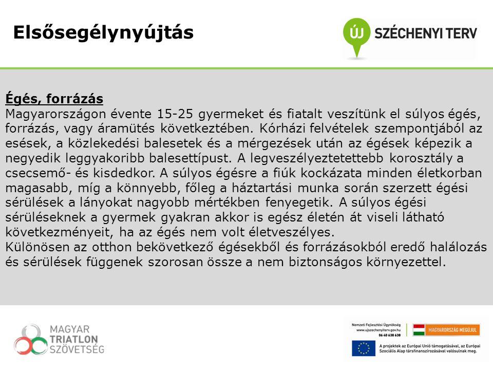 Égés, forrázás Magyarországon évente 15-25 gyermeket és fiatalt veszítünk el súlyos égés, forrázás, vagy áramütés következtében. Kórházi felvételek sz
