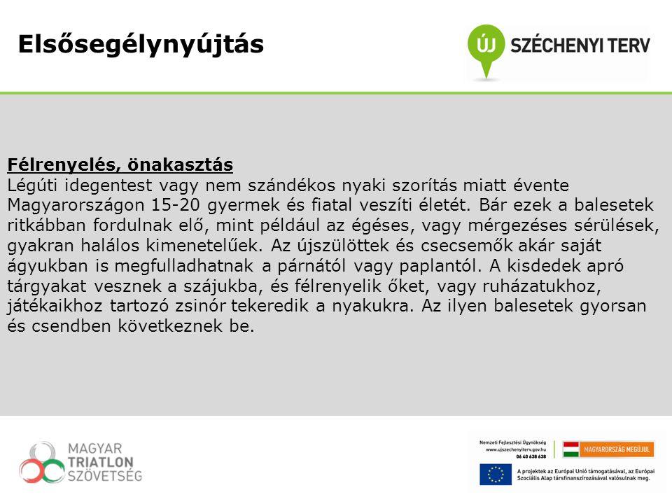 Félrenyelés, önakasztás Légúti idegentest vagy nem szándékos nyaki szorítás miatt évente Magyarországon 15-20 gyermek és fiatal veszíti életét. Bár ez