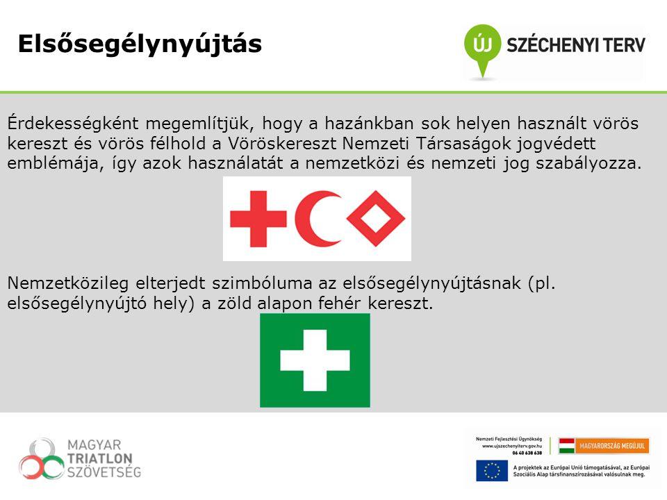 Érdekességként megemlítjük, hogy a hazánkban sok helyen használt vörös kereszt és vörös félhold a Vöröskereszt Nemzeti Társaságok jogvédett emblémája,