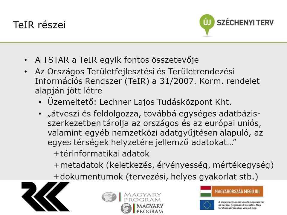 TeIR részei A TSTAR a TeIR egyik fontos összetevője Az Országos Területfejlesztési és Területrendezési Információs Rendszer (TeIR) a 31/2007. Korm. re