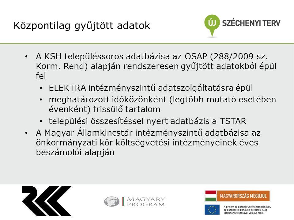 A KSH településsoros adatbázisa az OSAP (288/2009 sz. Korm. Rend) alapján rendszeresen gyűjtött adatokból épül fel ELEKTRA intézményszintű adatszolgál