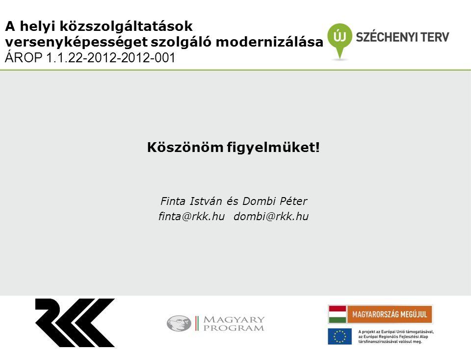 Köszönöm figyelmüket! Finta István és Dombi Péter finta@rkk.hu dombi@rkk.hu A helyi közszolgáltatások versenyképességet szolgáló modernizálása ÁROP 1.
