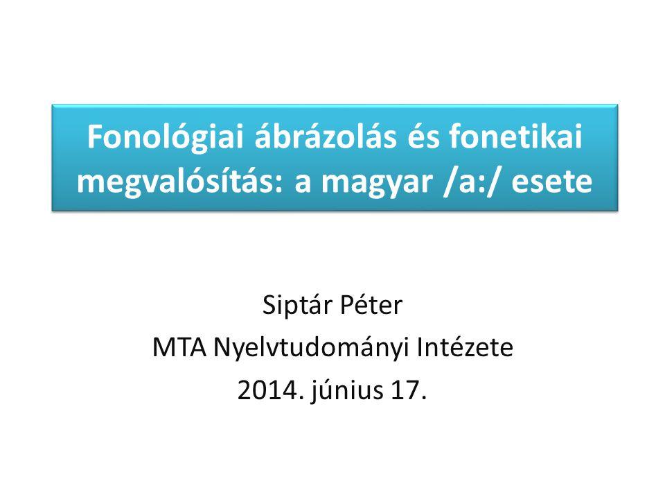 A magyar /aː/ fonológiája