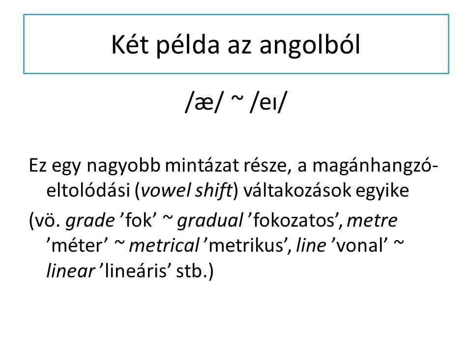 Két példa az angolból /æ/ ~ /eɪ/ Ez egy nagyobb mintázat része, a magánhangzó- eltolódási (vowel shift) váltakozások egyike (vö. grade 'fok' ~ gradual