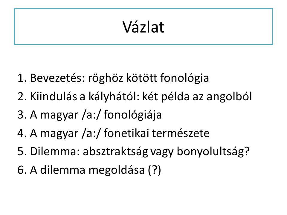 Vázlat 1. Bevezetés: röghöz kötött fonológia 2. Kiindulás a kályhától: két példa az angolból 3. A magyar /a:/ fonológiája 4. A magyar /a:/ fonetikai t