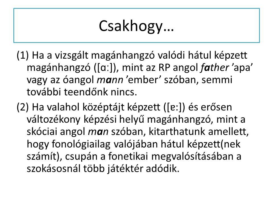 (1) Ha a vizsgált magánhangzó valódi hátul képzett magánhangzó ([ɑː]), mint az RP angol father 'apa' vagy az óangol mann 'ember' szóban, semmi további