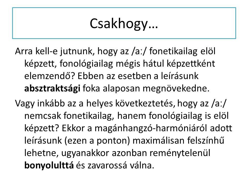 Csakhogy… Arra kell-e jutnunk, hogy az /aː/ fonetikailag elöl képzett, fonológiailag mégis hátul képzettként elemzendő? Ebben az esetben a leírásunk a