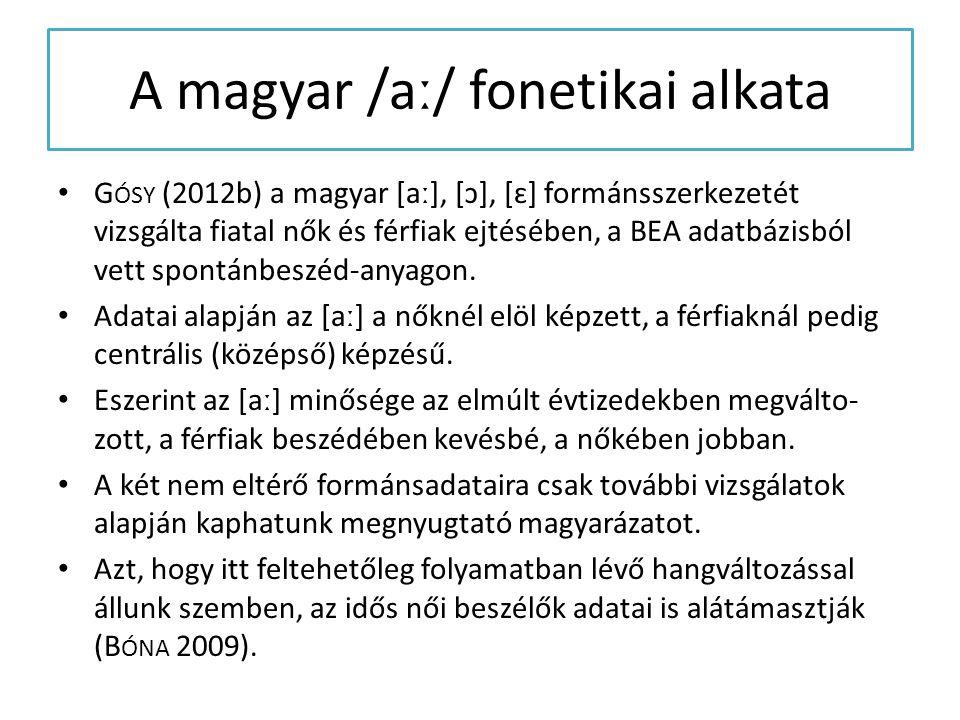 A magyar /aː/ fonetikai alkata G ÓSY (2012b) a magyar [aː], [ɔ], [ɛ] formánsszerkezetét vizsgálta fiatal nők és férfiak ejtésében, a BEA adatbázisból