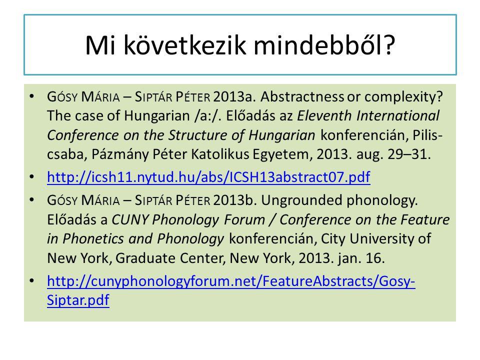 Mi következik mindebből? G ÓSY M ÁRIA – S IPTÁR P ÉTER 2013a. Abstractness or complexity? The case of Hungarian /a:/. Előadás az Eleventh Internationa