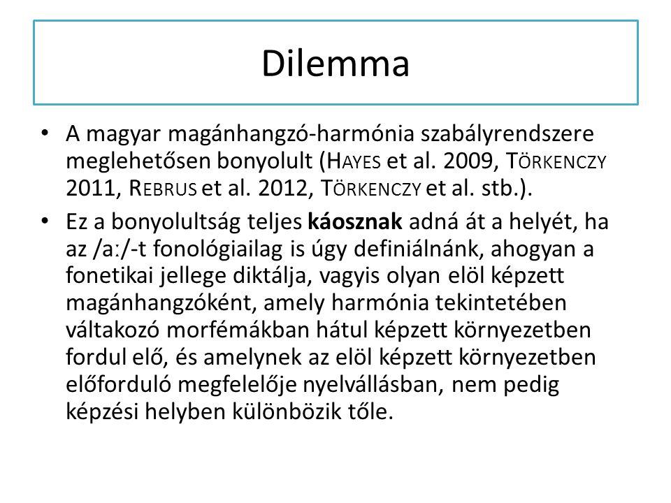Dilemma A magyar magánhangzó-harmónia szabályrendszere meglehetősen bonyolult (H AYES et al. 2009, T ÖRKENCZY 2011, R EBRUS et al. 2012, T ÖRKENCZY et