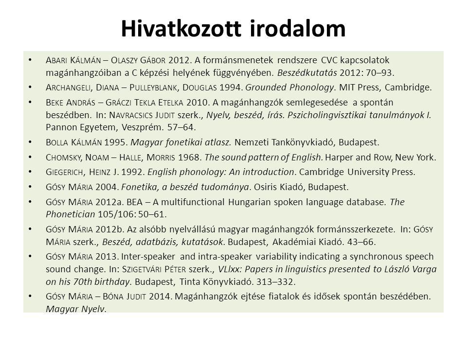 Hivatkozott irodalom A BARI K ÁLMÁN – O LASZY G ÁBOR 2012. A formánsmenetek rendszere CVC kapcsolatok magánhangzóiban a C képzési helyének függvényébe