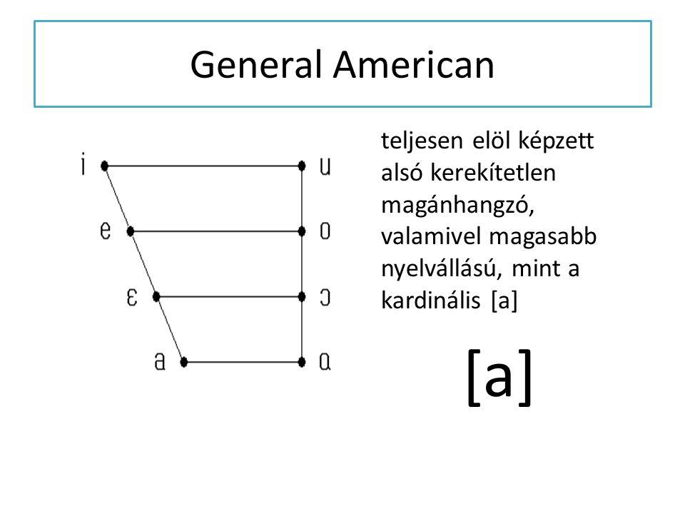 General American teljesen elöl képzett alsó kerekítetlen magánhangzó, valamivel magasabb nyelvállású, mint a kardinális [a] [a]