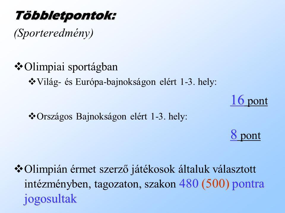 Többletpontok: (Sporteredmény) OO limpiai sportágban VV ilág- és Európa-bajnokságon elért 1-3.