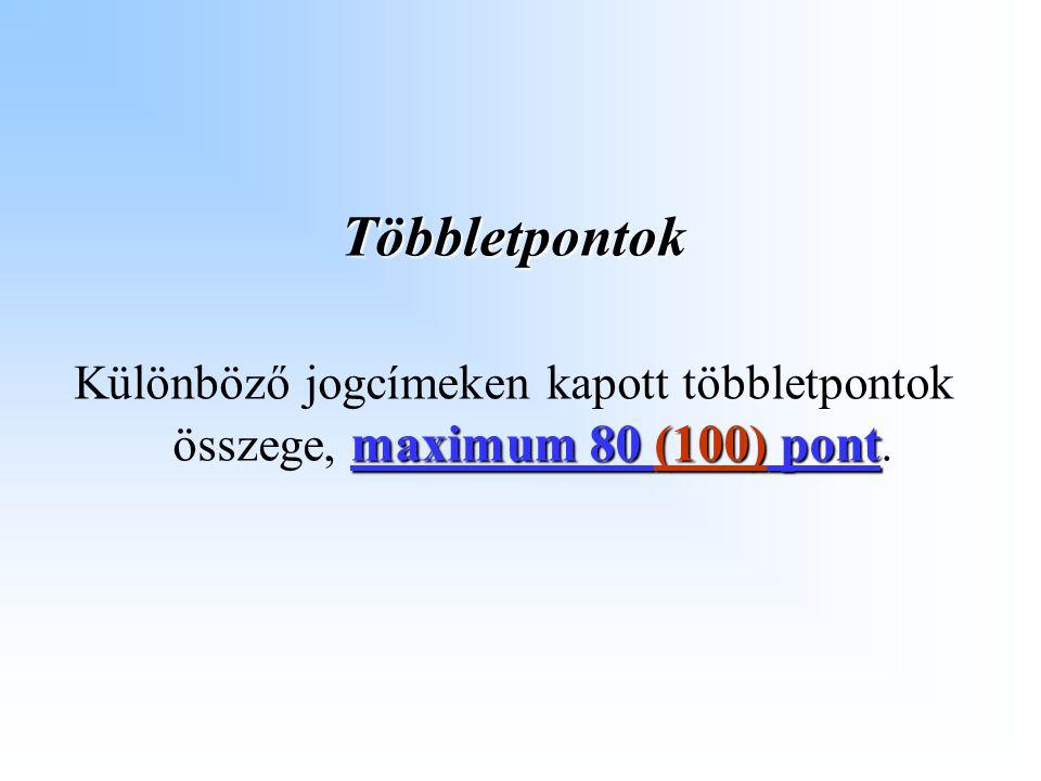 Többletpontok maximum 80 (100) pont Különböző jogcímeken kapott többletpontok összege, maximum 80 (100) pont.
