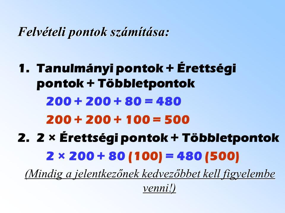 Felvételi pontok számítása: 1.Tanulmányi pontok + Érettségi pontok + Többletpontok 200 + 200 + 80 = 480 200 + 200 + 100 = 500 2.2 × Érettségi pontok + Többletpontok 2 × 200 + 80 (100) = 480 (500) (Mindig a jelentkezőnek kedvezőbbet kell figyelembe venni!)