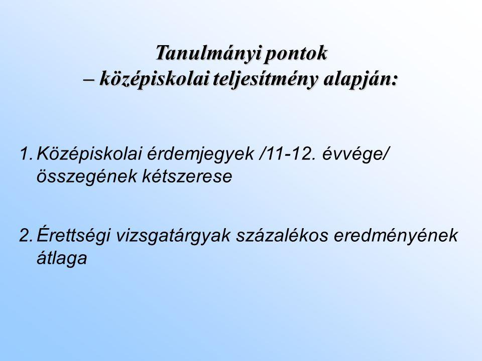Tanulmányi pontok – középiskolai teljesítmény alapján: 1.Középiskolai érdemjegyek /11-12.