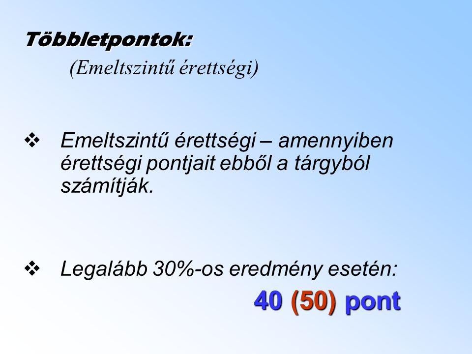 Többletpontok: (Emeltszintű érettségi) EEmeltszintű érettségi – amennyiben érettségi pontjait ebből a tárgyból számítják.