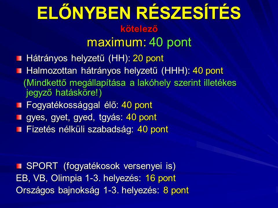 ELŐNYBEN RÉSZESÍTÉS kötelező maximum: 40 pont Hátrányos helyzetű (HH): 20 pont Halmozottan hátrányos helyzetű (HHH): 40 pont (Mindkettő megállapítása