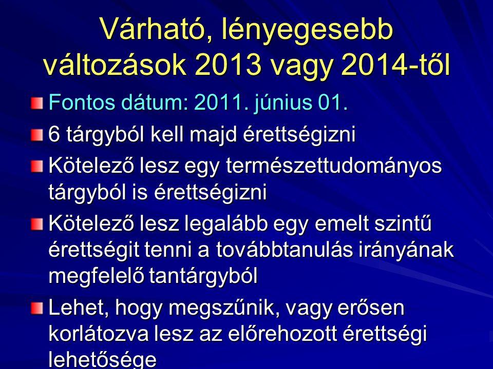 Várható, lényegesebb változások 2013 vagy 2014-től Fontos dátum: 2011. június 01. 6 tárgyból kell majd érettségizni Kötelező lesz egy természettudomán