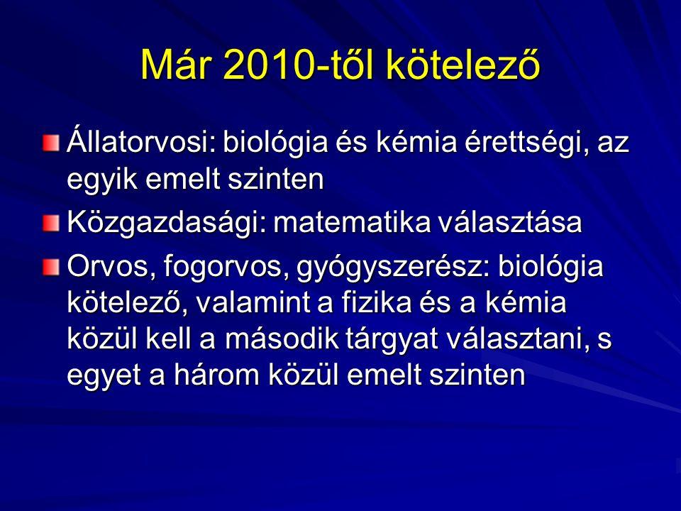 Már 2010-től kötelező Állatorvosi: biológia és kémia érettségi, az egyik emelt szinten Közgazdasági: matematika választása Orvos, fogorvos, gyógyszeré