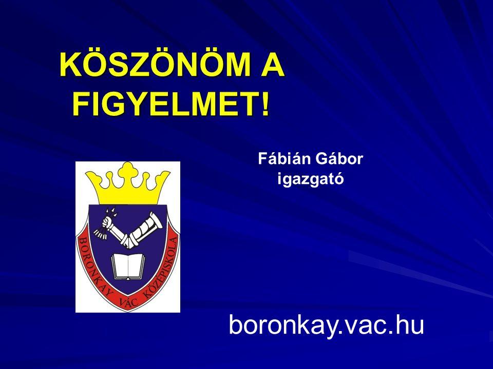 KÖSZÖNÖM A FIGYELMET! boronkay.vac.hu Fábián Gábor igazgató