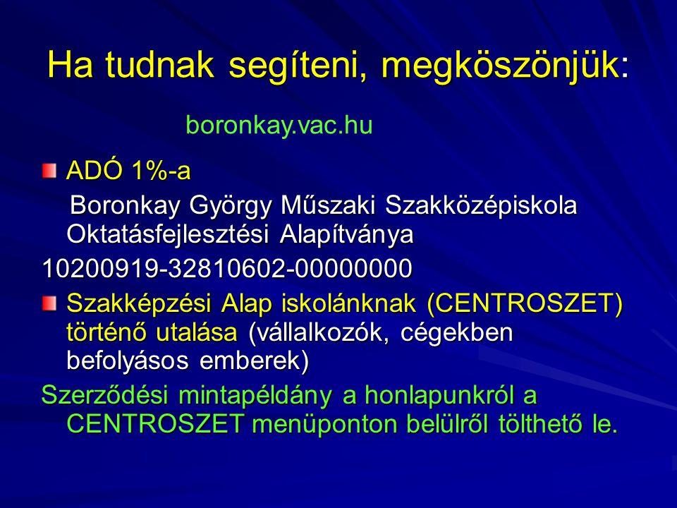 Ha tudnak segíteni, megköszönjük: ADÓ 1%-a Boronkay György Műszaki Szakközépiskola Oktatásfejlesztési Alapítványa Boronkay György Műszaki Szakközépisk