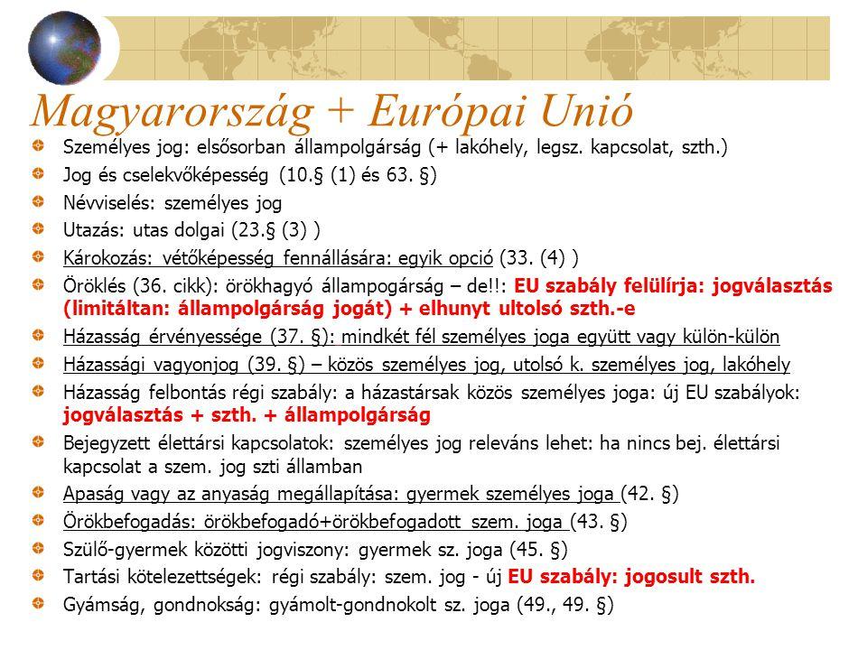 Magyarország + Európai Unió Személyes jog: elsősorban állampolgárság (+ lakóhely, legsz. kapcsolat, szth.) Jog és cselekvőképesség (10.§ (1) és 63. §)