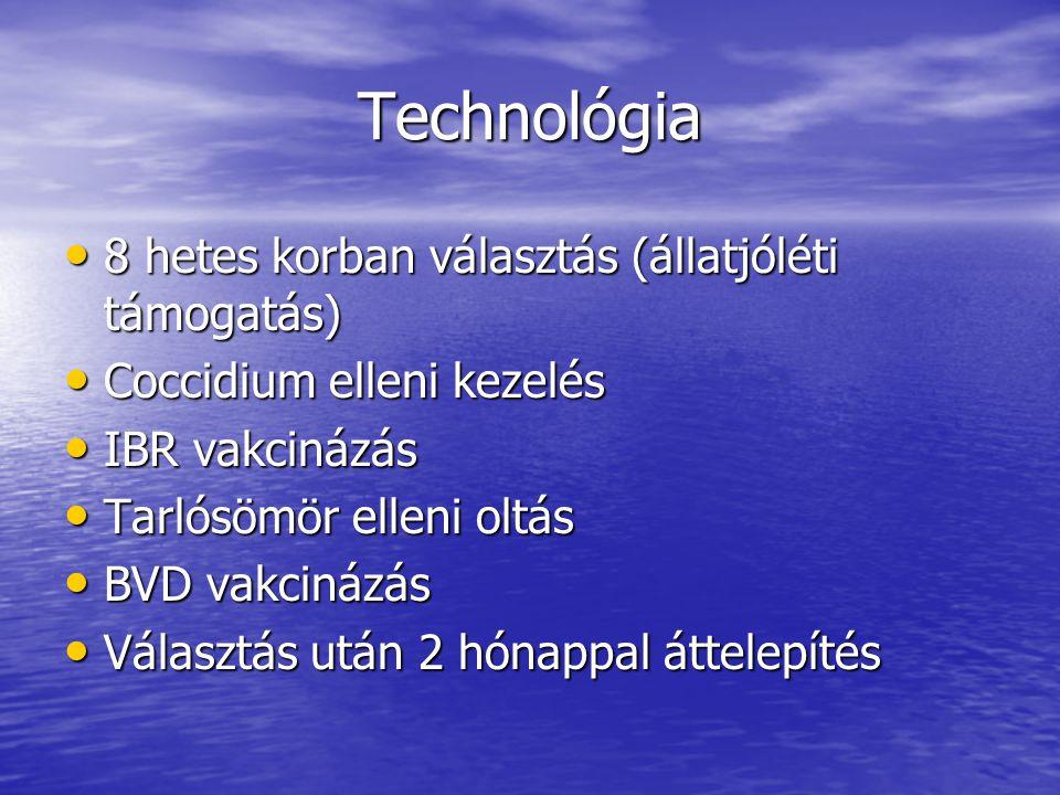 Technológia 8 hetes korban választás (állatjóléti támogatás) 8 hetes korban választás (állatjóléti támogatás) Coccidium elleni kezelés Coccidium ellen
