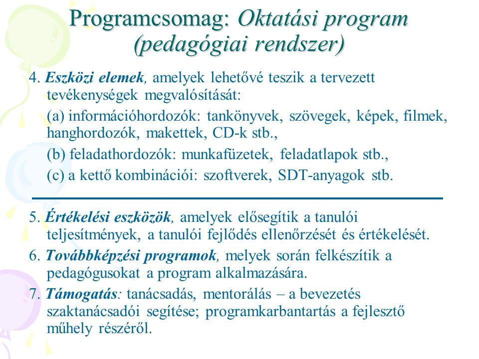 Programcsomag: Oktatási program (pedagógiai rendszer) 4.