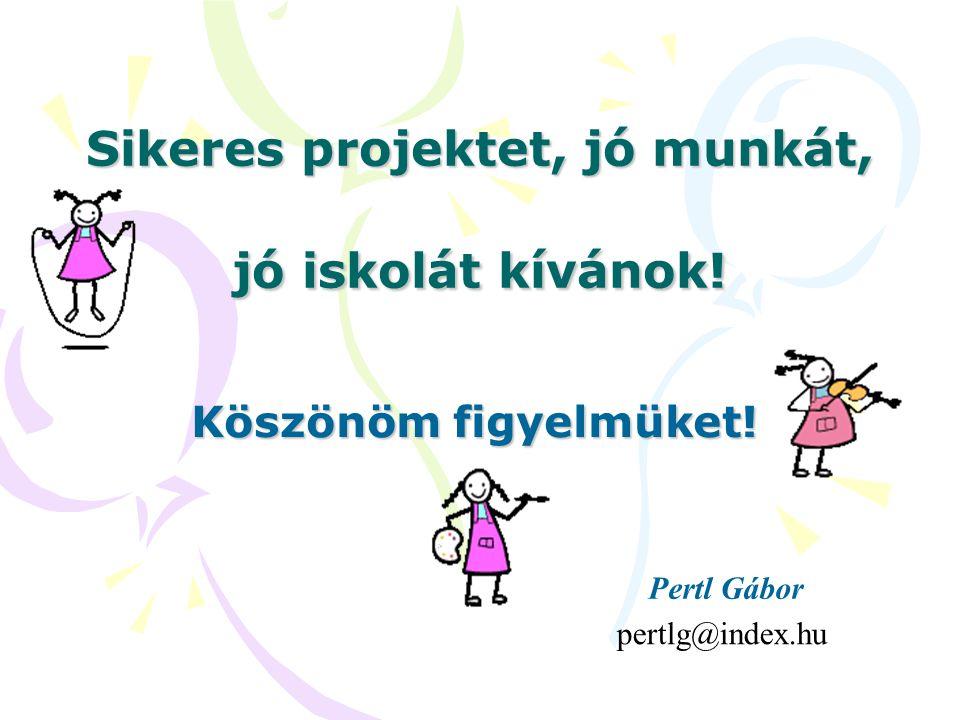Sikeres projektet, jó munkát, jó iskolát kívánok! Köszönöm figyelmüket! pertlg@index.hu Pertl Gábor