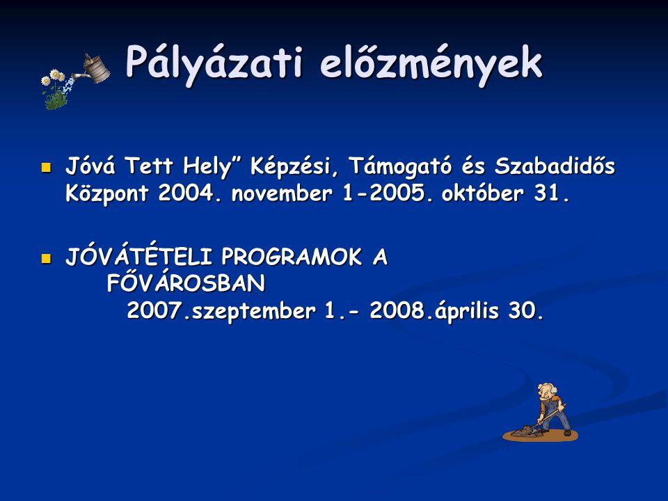 """Pályázati előzmények Jóvá Tett Hely"""" Képzési, Támogató és Szabadidős Központ 2004. november 1-2005. október 31. Jóvá Tett Hely"""" Képzési, Támogató és S"""