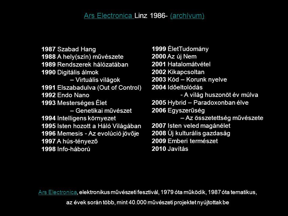 Ars ElectronicaArs Electronica, elektronikus művészeti fesztivál, 1979 óta működik, 1987 óta tematikus, az évek során több, mint 40.000 művészeti proj