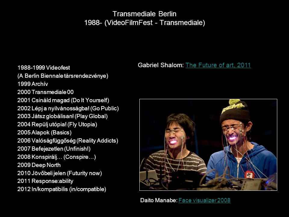 Transmediale Berlin 1988- (VideoFilmFest - Transmediale) 1988-1999 Videofest (A Berlin Biennale társrendezvénye) 1999 Archív 2000 Transmediale 00 2001 Csináld magad (Do It Yourself) 2002 Lépj a nyilvánosságba.
