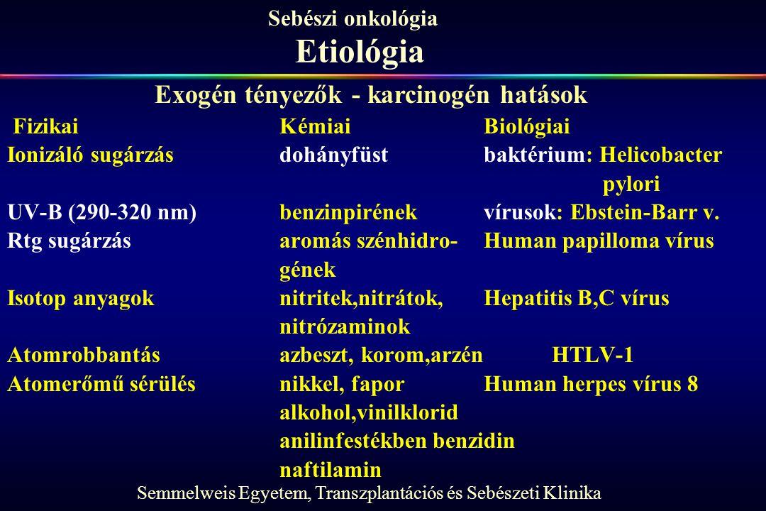 Semmelweis Egyetem, Transzplantációs és Sebészeti Klinika Sebészi onkológia Etiológia FizikaiKémiaiBiológiai Ionizáló sugárzásdohányfüstbaktérium: Hel