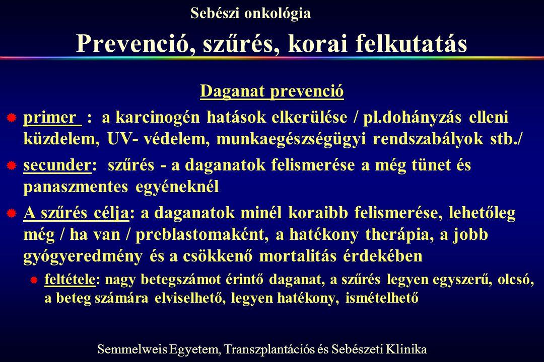 Semmelweis Egyetem, Transzplantációs és Sebészeti Klinika Sebészi onkológia Prevenció, szűrés, korai felkutatás Daganat prevenció  primer : a karcino