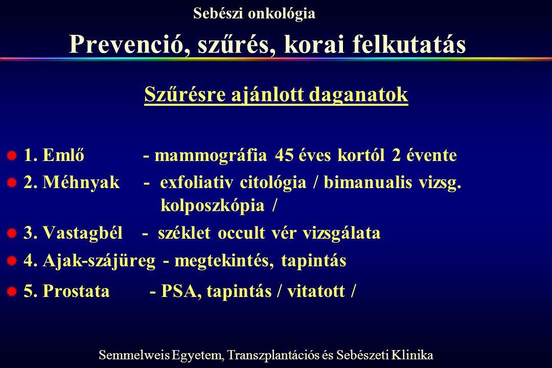 Semmelweis Egyetem, Transzplantációs és Sebészeti Klinika Sebészi onkológia Prevenció, szűrés, korai felkutatás Szűrésre ajánlott daganatok  1. Emlő