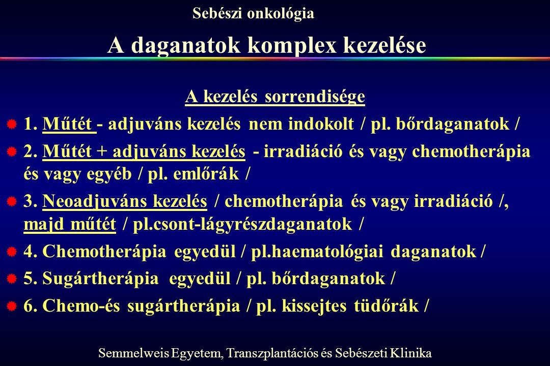 Semmelweis Egyetem, Transzplantációs és Sebészeti Klinika Sebészi onkológia A daganatok komplex kezelése A kezelés sorrendisége  1. Műtét - adjuváns