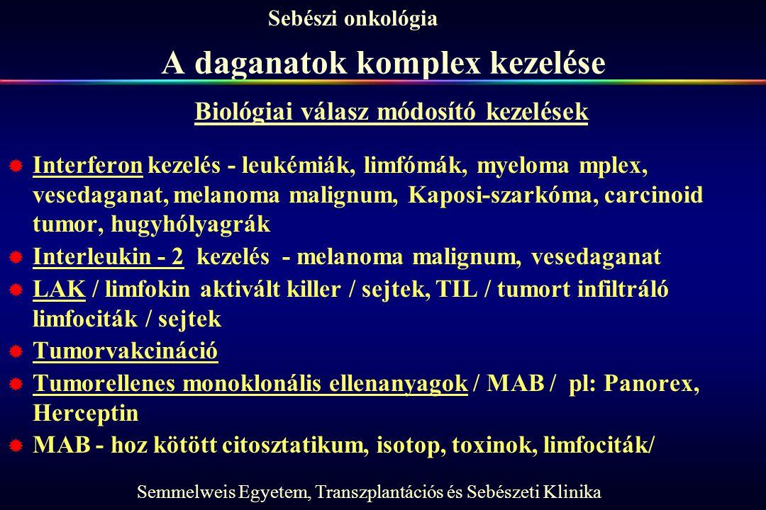 Semmelweis Egyetem, Transzplantációs és Sebészeti Klinika Sebészi onkológia A daganatok komplex kezelése  Interferon kezelés - leukémiák, limfómák, m
