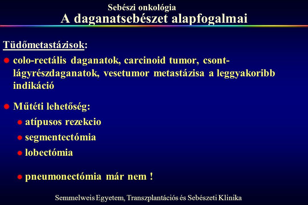 Semmelweis Egyetem, Transzplantációs és Sebészeti Klinika Sebészi onkológia A daganatsebészet alapfogalmai Tüdőmetastázisok:  colo-rectális daganatok