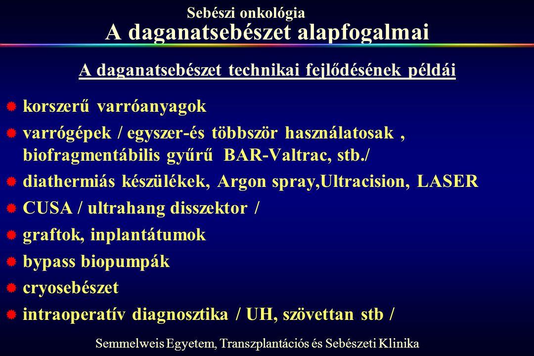 Semmelweis Egyetem, Transzplantációs és Sebészeti Klinika Sebészi onkológia A daganatsebészet alapfogalmai A daganatsebészet technikai fejlődésének pé