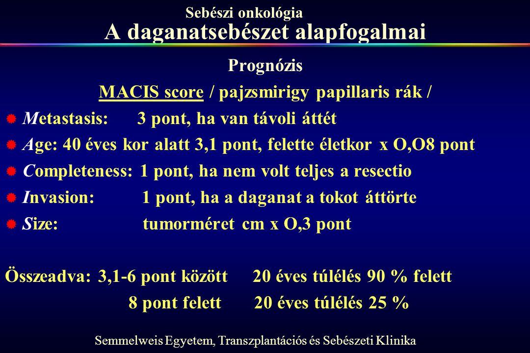 Semmelweis Egyetem, Transzplantációs és Sebészeti Klinika Sebészi onkológia A daganatsebészet alapfogalmai Prognózis MACIS score / pajzsmirigy papilla