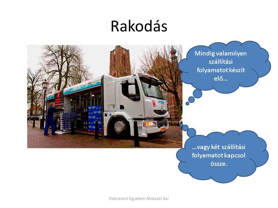 Rakodás Debreceni Egyetem Műszaki Kar Mindig valamilyen szállítási folyamatot készít elő… …vagy két szállítási folyamatot kapcsol össze.