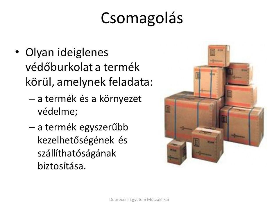 Csomagolás Olyan ideiglenes védőburkolat a termék körül, amelynek feladata: – a termék és a környezet védelme; – a termék egyszerűbb kezelhetőségének és szállíthatóságának biztosítása.