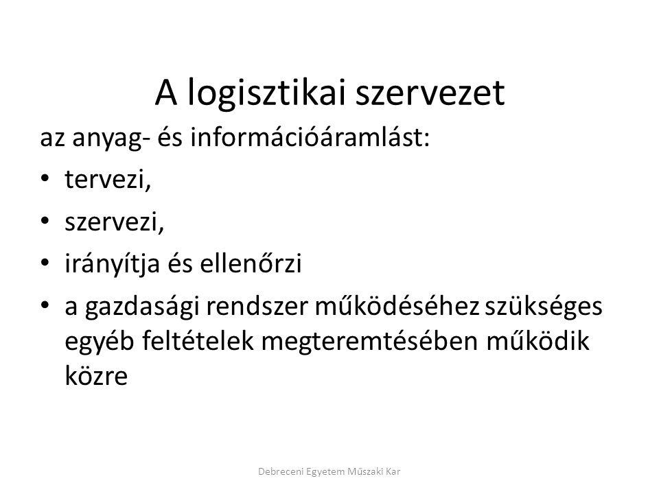 A logisztikai szervezet az anyag- és információáramlást: tervezi, szervezi, irányítja és ellenőrzi a gazdasági rendszer működéséhez szükséges egyéb feltételek megteremtésében működik közre Debreceni Egyetem Műszaki Kar