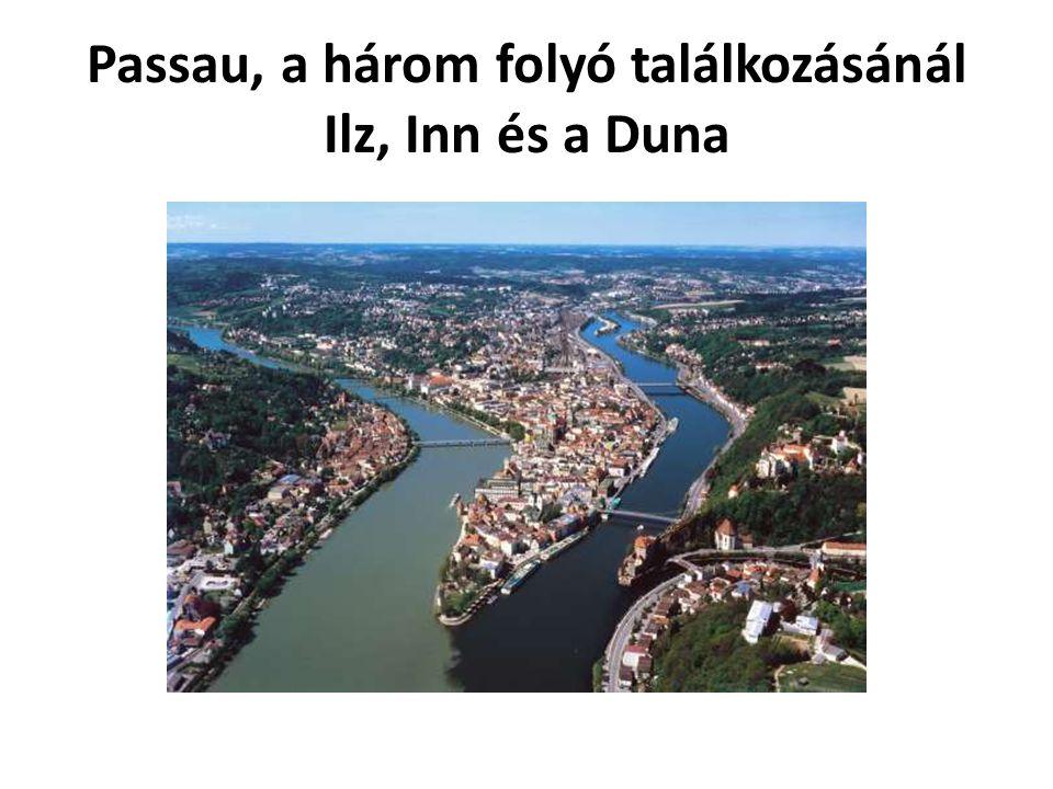 Passau, a három folyó találkozásánál Ilz, Inn és a Duna