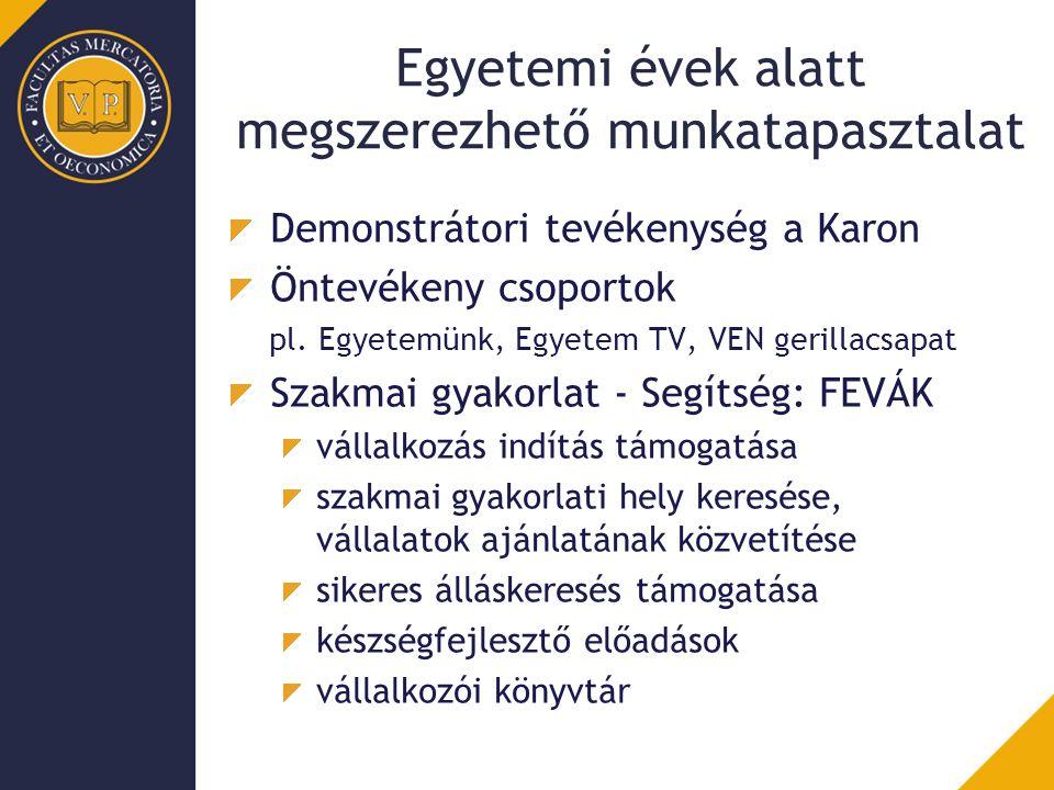 Egyetemi évek alatt megszerezhető munkatapasztalat Demonstrátori tevékenység a Karon Öntevékeny csoportok pl. Egyetemünk, Egyetem TV, VEN gerillacsapa