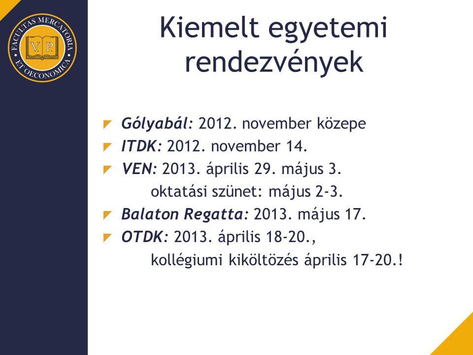 Kiemelt egyetemi rendezvények Gólyabál: 2012. november közepe ITDK: 2012. november 14. VEN: 2013. április 29. május 3. oktatási szünet: május 2-3. Bal