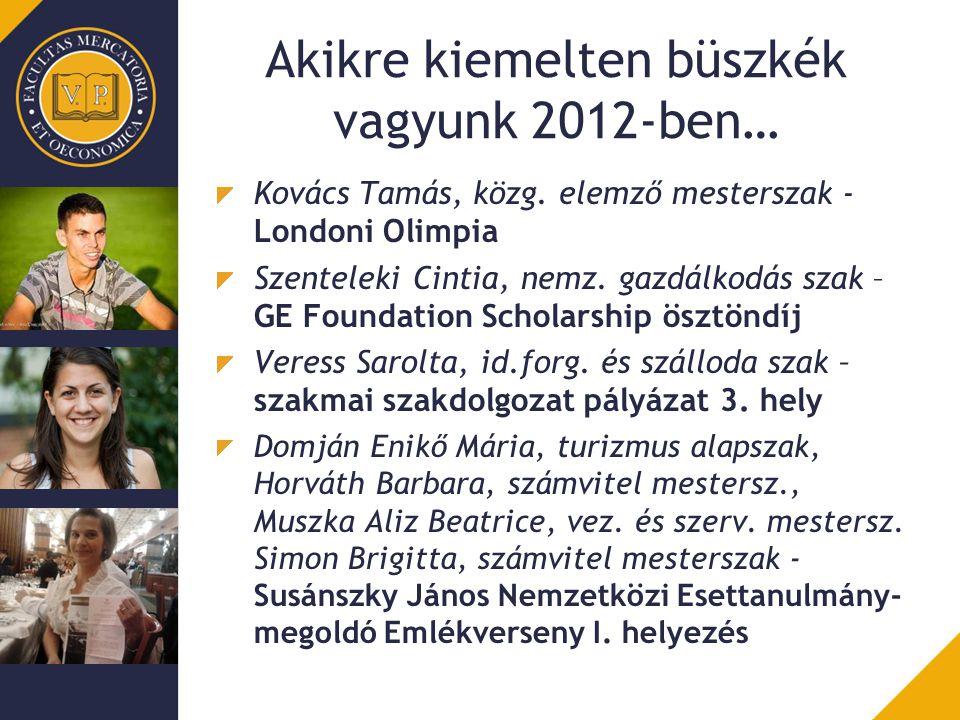 Akikre kiemelten büszkék vagyunk 2012-ben… Kovács Tamás, közg. elemző mesterszak - Londoni Olimpia Szenteleki Cintia, nemz. gazdálkodás szak – GE Foun