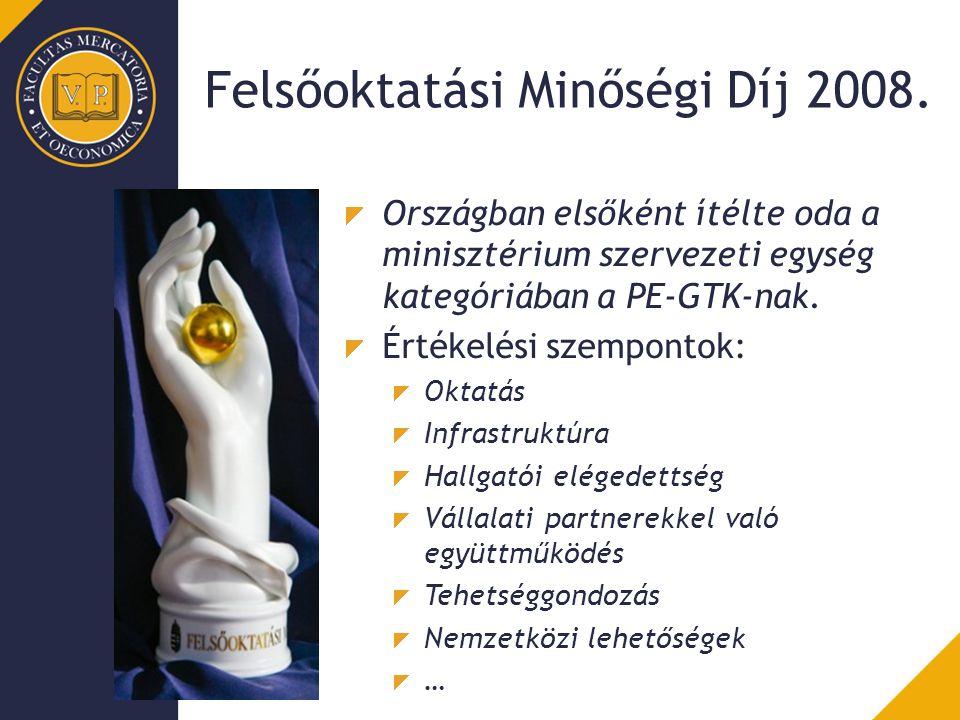 Felsőoktatási Minőségi Díj 2008. Országban elsőként ítélte oda a minisztérium szervezeti egység kategóriában a PE-GTK-nak. Értékelési szempontok: Okta